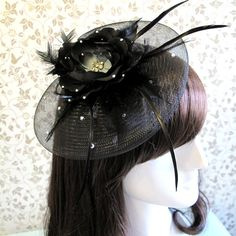 Black Satin Flower Crystal Veil Net Derby Church Wedding Birthday Prom Party Millinery Hair Fascinator Top Hat Clip