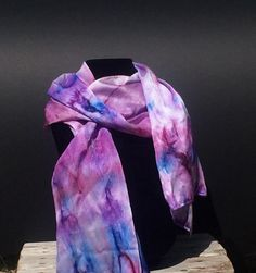 "I love pink and purple together on this scarf! 14"" x 72"""