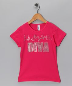 This Rhinestone Fabuless Hot Pink 'Kindergarten Diva' Tee - Girls by Rhinestone Fabuless is perfect! #zulilyfinds