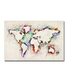 Take a look at this Paint Splashes Outline World Map Gallery-Wrapped Canvas by Michael Tompsett on #zulily today!