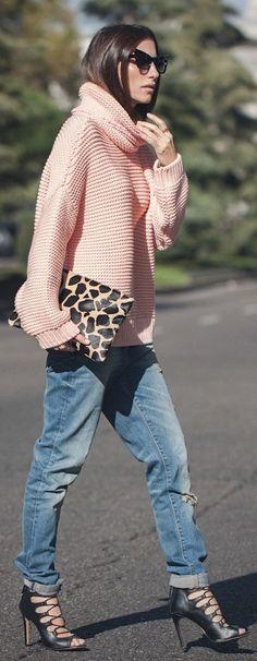 Light Pink Oversize Cowl Neck Sweater
