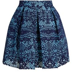 Maje Pleated guipure lace and mesh mini skirt ($275) ❤ liked on Polyvore featuring skirts, mini skirts, blue, high-waist skirt, short pleated skirt, blue skirt, box pleat skirt and high-waisted skirts