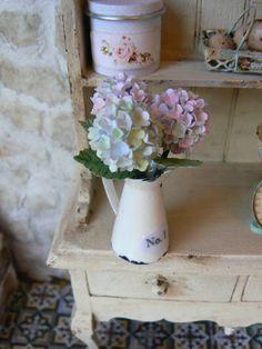 Krug mit Hortensien - Puppenhaus - Miniaturen