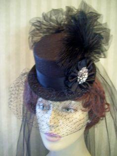 Black Steampunk Mini Top Hat Victorian Hat Halloween Hat Vampire Hat Civil War Hat