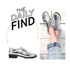 """The Daily Find: ASOS Silver Brogues"" by polyvore-editorial ❤ liked on Polyvore featuring ASOS, women's clothing, women's fashion, women, female, woman, misses, juniors and DailyFind"