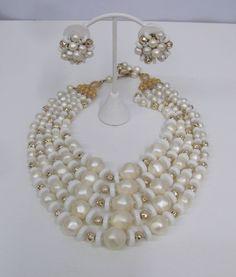 VINTAGE SCHIAPARELLI NECKLACE EARRINGS SET 5 STRANDS WHITE PEARL & GOLD #Schiaparelli