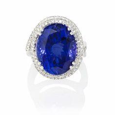 Diamond and Tanzanite 18k White Gold Ring  l Firenze Jewels