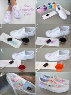 Watercolors are perfect for blending and mixing colors to create a one of a kind shoe masterpiece. Were applying our art class skills to the blank canvas of white Vans for this DIY. Heres how to let your creative side out to play. Diy Tie Dye Vans, Tie Dye Shoes, Diy Tie Dye Shirts, How To Dye Shoes, How To Tie Dye, Sharpie Tie Dye, Sharpie Shoes, Tie Dye Party, Tie Dye Crafts