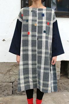 Japanese Boro indigo check dress/handmade by old vintage fabric/sashiko hand-stitched/hand woven cotton/A line/179