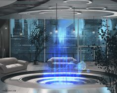 Penthouse by ianllanas | Digital Art / Drawings & Paintings / Sci-Fi | Futuristic Interior Design Concept City Metropolis Cyberpunk
