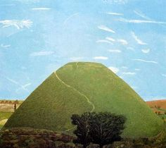 'Silbury Hill' by David Inshaw, 1989 Green Landscape, Landscape Art, Landscape Paintings, Landscape Sketch, Magic Realism, Over The Hill, Dope Art, Contemporary Landscape, Figure Painting