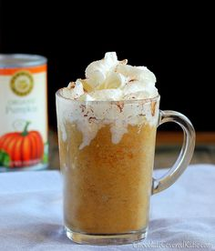 Pumpkin Pie Frappuccinos  (makes 2 lrg servings)  Inspired by this recipe: Copycat Frappuccinos.      2 c milk of choice (480g)      1/2 tsp pure vanilla extract      2 tsp inst coffee granules (decaf or reg)      scant 1/16 tsp salt      sweetener of choice      1/2 c canned pumpkin (120g)      1/4 tsp cinnamon (or pumpkin pie spice)