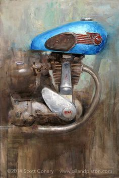 Scott Conary: The Motorcycle. Paintings and prints. Artwork and ideas. Motorcycle Posters, Motorcycle Art, Bike Art, Motorcycle Memes, Bike Sketch, Cafe Racer, Automotive Art, Vintage Bikes, Vintage Motorcycles
