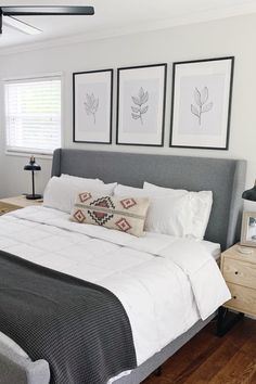 A set of three gallery prints makes figuring out a gallery wall easy. Art Above Bed, Above Couch, My New Room, My Room, Feng Shui, Master Bedroom, Bedroom Decor, Bedroom Ideas, Simple Bedroom Design