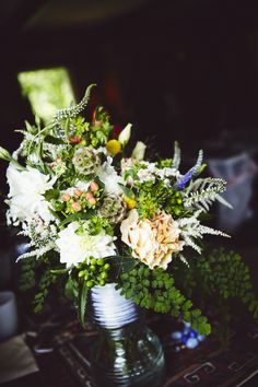 Wedding bouquet: English garden roses, maidenhair fern, wildflowers | Twenty Mile House Wedding | June 2014