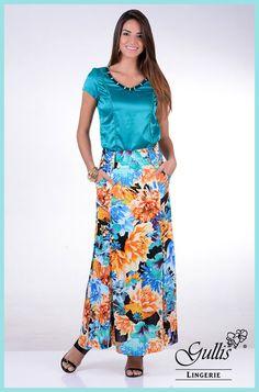Conjunto: blusa em cetim com renda e saia longa em viscose - Kauly: http://www.gullislingerie.com.br/conjunto-blusa-cetim-renda-saia-longa-viscose-kauly Linda e moderna!