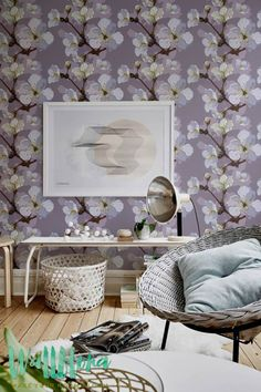 White and Beige Apple Tree Wallpaper | Removable Wallpaper | Apple tree Wallpaper | Apple tree Wall Sticker | Apple Tree Adhesive Wallpaper