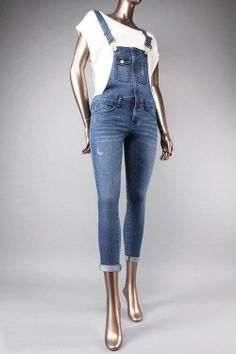 NWT DENIM SKINNY OVERALL JUMPSUIT-ALL SIZES