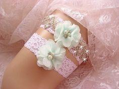 Bridal Garter Wedding Garter Set Mint Green by nanarosedesigns