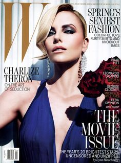 Charlize Theron W magazine cover, wearing Dior makeup. Dior Smoky Brown trio 781.