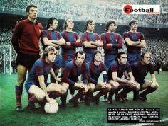 Sadurní, De la Cruz, Neeskens, Costas, Marinho, Migueli, Rexach, Juan Carlos, Cruyff, Asensi i Marcial