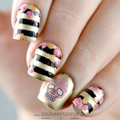 """ssunnysideup: Halloween nails, roses, stripes, skulls Items used: Color Club """"Where's the soiree"""" Acrylic paint water decal from bornprettystore"""
