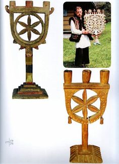 Hutsul candle holders, Ukraine Very much like what received as a wedding gift.