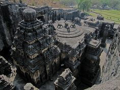 Kailashnath Temple in Maharashtra, India. The temple is that it's carved out of one single rock, Dedicated to Hindu Lord Shiva, the temple was built between 756-774 CE by the Rashtrakuta king Krishna I and measures about 60 feet tall and 200 feet wide.