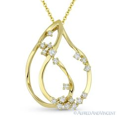 The featured pendant is cast in 14k yellow gold and showcases a tear-drop design adorned with clusters of round cut diamonds.  #diamonds #14kjewelry #14kgold #yellowgold #tear-drop #pendant #necklace