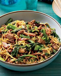 Asian Noodles with Roast Pork. This is DELICIOUS and makes a ton. I roasted my own pork shoulder in asian ingredients and shredded up. Highly recommended.