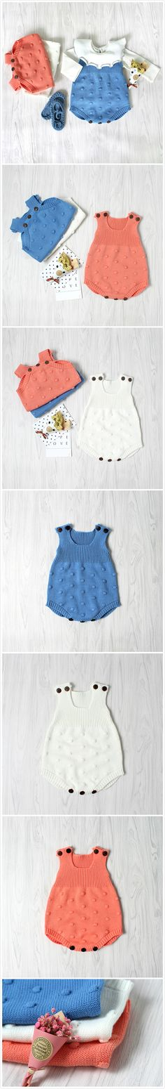 4-Color Baby Unisex Knitting Wool Sleeveless Oneies For Spring Autumn