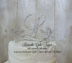Snowflake Wedding Cake Topper KEEPSAKE Winter by InitialMoments