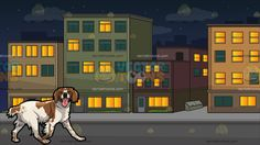 A Shaggy Brittany Spaniel Pet Dog With Blocks Of Neighboring Apartment Buildings Background:  A dog with white and spotted brown fur droopy ears and black nose walking slowly to its left looking ahead while parting its lips showing a pink tongue and A block of residential buildings with multicolored facade lighted rooms green glass windows gray road and pavement during a starry night  #dog #puppy #clipart #design #illustration #cartoon #vectortoons