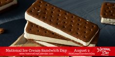 On August National Ice Cream Sandwich Day encourages us to cool off with a favorite frozen treat. This dessert will hit the spot on a hot day. Chocolate Wafers, Chocolate Brownies, National Drink Beer Day, International Beer Day, Milk Biscuits, Sandwich Day, August 2nd, Water Balloons, Sponge Cake