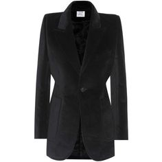 Vetements Velvet Blazer (87,745 THB) via Polyvore featuring outerwear, jackets, blazers, black, one button jacket, velvet jacket, blazer jacket, tailored jacket and cinch jackets