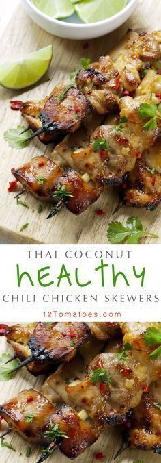 Coming in at under 250 calories per serving, Asian Thai Chili Coconut Chicken Skewers… There's a delicious sweetness from the coconut milk that accompanies a well-rounded and full flavor from all the spices. Throw in some red pepper flakes. Healthy Asian Recipes, Paleo Recipes, Cooking Recipes, Alkaline Recipes, Coconut Milk Recipes, Cheap Recipes, Chinese Recipes, Ketogenic Recipes, Grilling Recipes