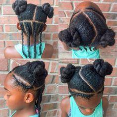 Natural hairstyle for girls Cornrows + buns Natural hair
