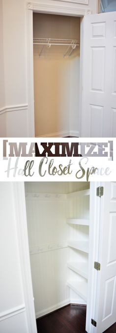 Maximize your hall closet storage by transforming a builder basic inefficient closet space into a space packed with brilliant and space-savvy storage! Hall Closet Organization, Bedroom Closet Storage, Closet Redo, Closet Hacks, Tiny Closet, Closet Remodel, Organization Ideas, Closet Ideas, Storage Ideas