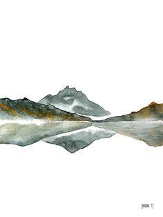 Watercolor Landscape Paintings, Watercolor Artwork, Abstract Landscape, Painting Abstract, Abstract Print, Lake Painting, Green Paintings, Modern Artwork, Gravure