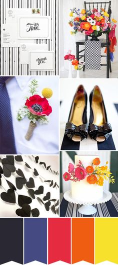 For a very modern wedding  - what about a Monochrome and Colour Wedding Palette - combining black and white wedding with pops of primary colours like red, yellow and blue. Red anemones and gorgeous pink and orange ranunuclus bring the black and white together