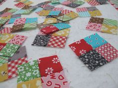 "Bee In My Bonnet: Bee in my Bonnet Row Along - Row One... using 3"" squares to make tiny 1"" square patchwork"