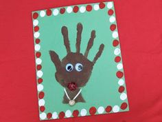 Rudolph the Red Nosed Reindeer Handprint Card