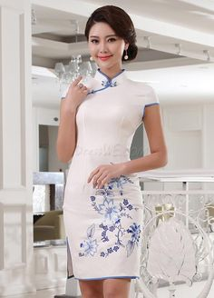 Dresswe.comサプライ品美しい東洋の列フラワー絵画チャイナドレス チャイナドレス