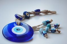 Evil Eye Macrame with Colorful Handmade Lampwork by TheGrandBazaar,