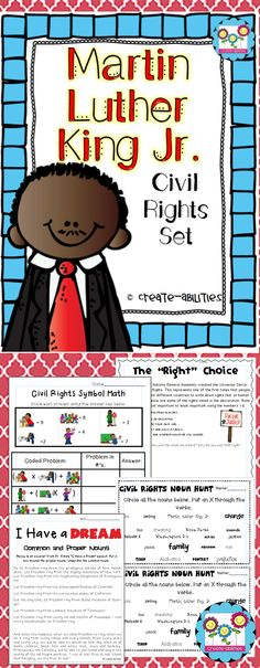 Martin Luther King Jr. civil rights pack. Math, reading and writing activities. $  #createabilities #MLK #blackhistory #reading