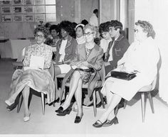 Seated first from the left is Delta Sigma Theta , Sorority Founder Eliza P. Shippen, seated second from the left is Founder Oseola Macarthy Adams. WDCAC Sorority Meeting.