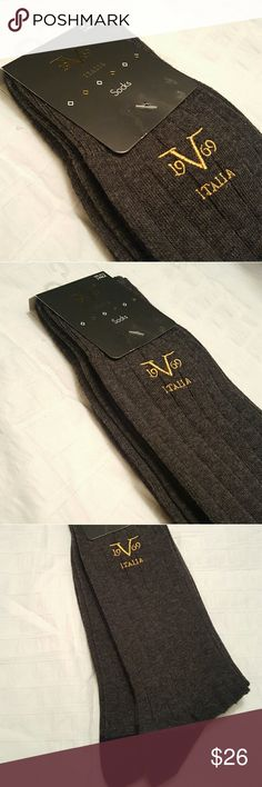 Versace 19.69 Italia Dress Socks - 2 Pack NWT Versace's V 19.69 Italia men's dress socks. These come as a pack of 2. Dark gray with gold stitching and black reinforced heel and toe.   #versace #v1969 #italia #dresssocks Versace 19.69 Underwear & Socks Dress Socks