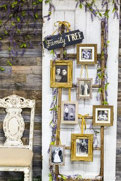 Creatively display family photos at your wedding with a one-of-a-kind family tree. we picked out frames to hang on a rustic-looking ladder for ours! Displaying Family Pictures, Display Family Photos, Old Family Photos, Family Tree Photo, Photo Tree, Family Trees, Tree Wedding, Ladder Wedding, Wedding Dress