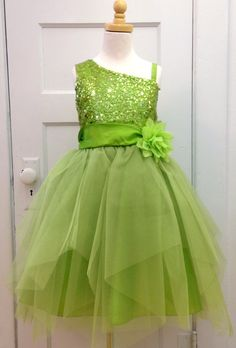 Lime Sequin Bodice Dress with Asymetrical Neckline and Tiered Tulle Skirt