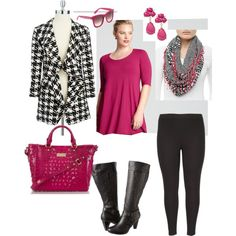 """Houndstooth Happiness- Plus Size Outfit"" by boswell0617 on Polyvore"